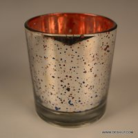 Decorated Silver Glass Candle Holder