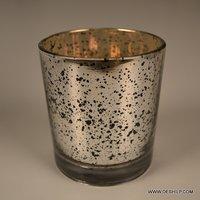 Silver Glass T Light Candle Votive