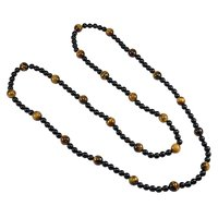 Handmade Jewelry Manufacturer 10 mm Tiger Eye & 5 mm Black Onyx Gemstone Necklace Jaipur Rajasthan India