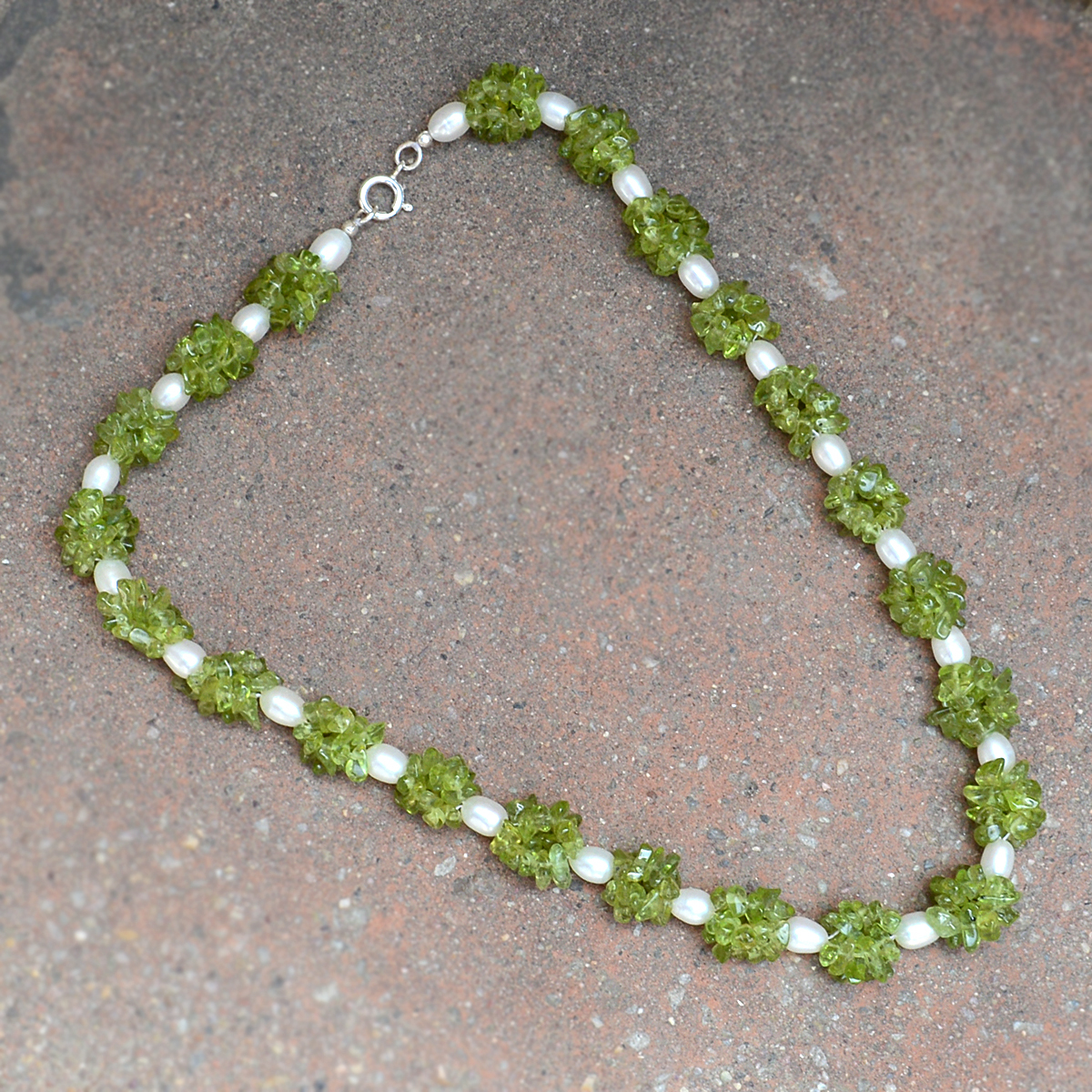 Handmade Jewelry Manufacturer Peridot & Pearl Gemstone 925 Sterling Silver Necklace Jaipur Rajasthan India