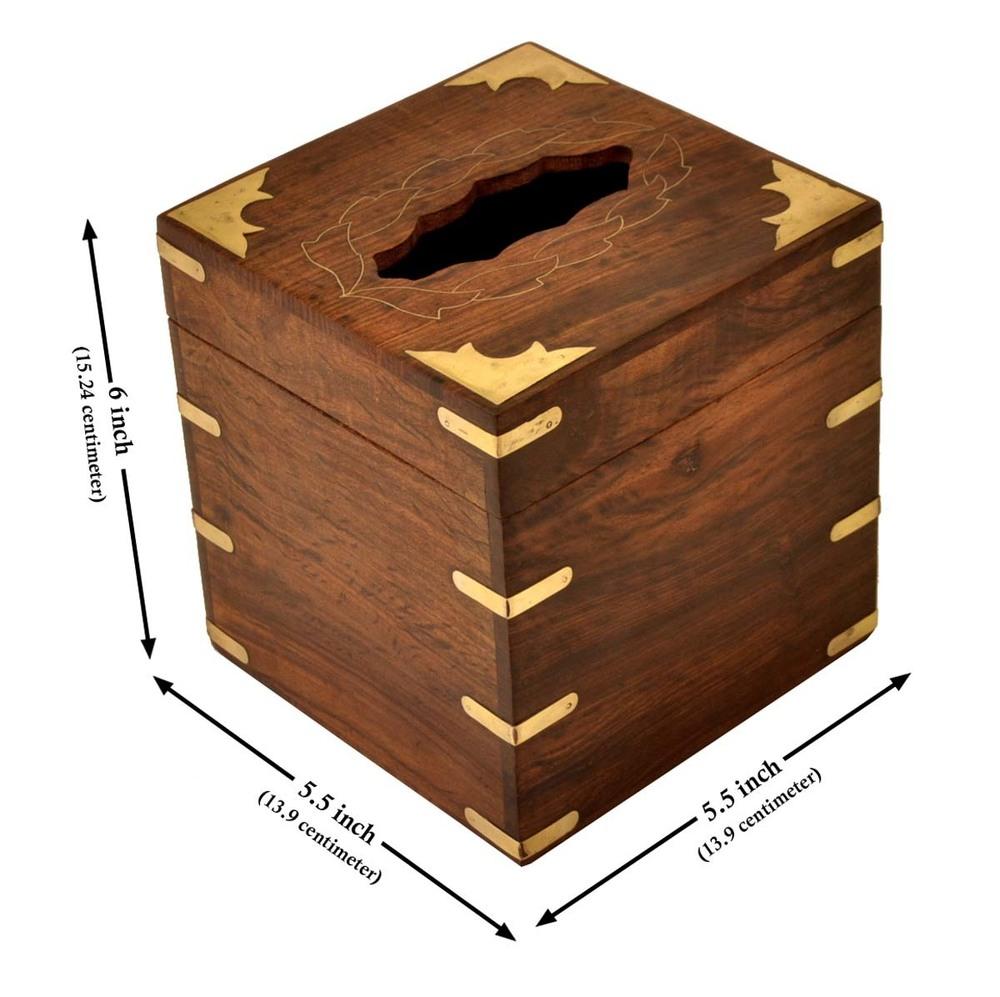 Square Wooden Tissue Napkin Holder Box