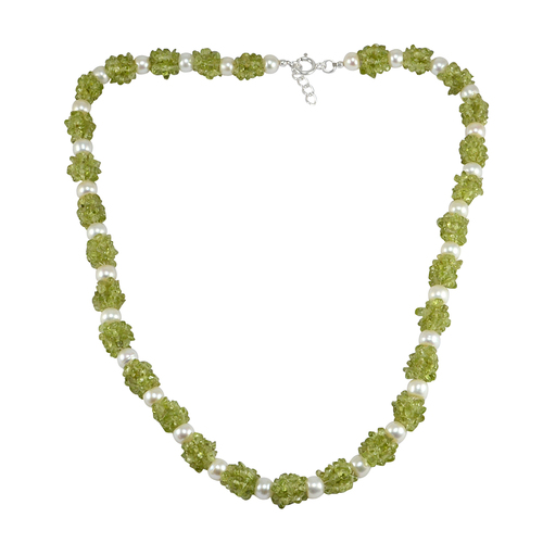 Peridot & Pearl Handmade Jewelry Manufacturer Gemstone 925 Sterling Silver Necklace Jaipur Rajasthan India