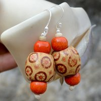 Handmade Jewelry Manufacturer Hand-Printed Wooden 925 Sterling Silver Wire Wrapped Dangle Earring Jaipur Rajasthan India