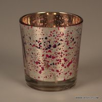 Silver Red Dotted Glass Candle Holder