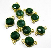 Set of 6 piece Emerald coin Shape Briolette Bezel Connectors
