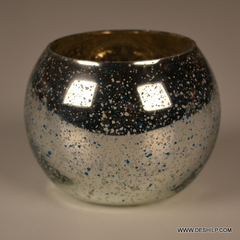 Round Glass Silver Candle Holder