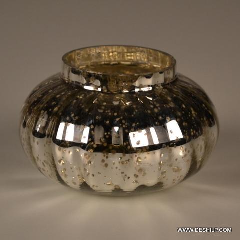 Small Lota Shape Silver Candle Holder