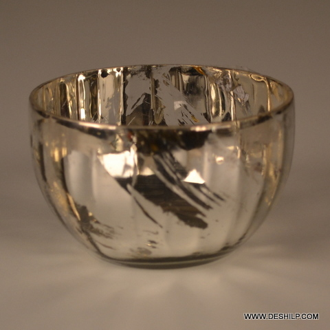 Antique Silver Glass Bowl