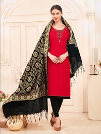Cotton Embroidered Hand Work Dress Material