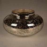 Ink-Pot Shape Glass Silver Candle Holder
