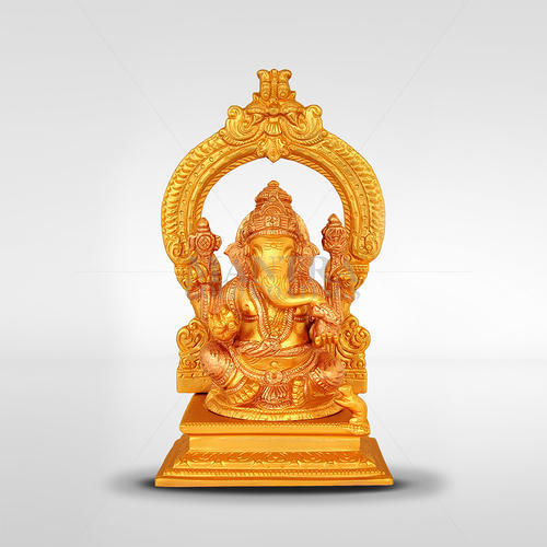Ganesha With Arch Gold Plated