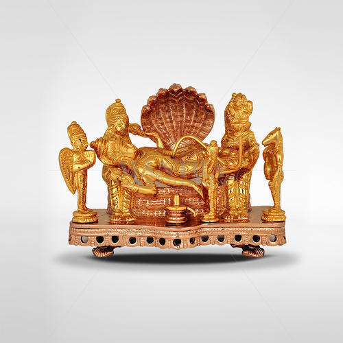 Gold Plated Vishnu With Lakshmi