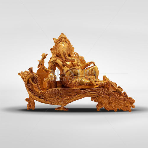 Gold Plated Ganesha Idol