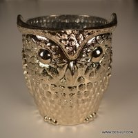 Owl Design Glass Candle Holder
