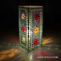 Green Mosaic Glass Table Lamp