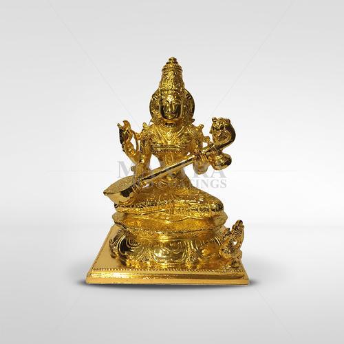 Gold Plated Saraswati Idol