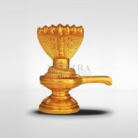 Gold Plated Shiva Lingam with Naagam