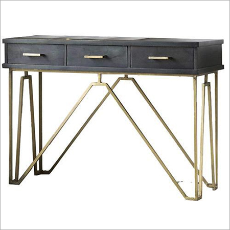 Solid Wood & Metal Study Table With 3 Drawers