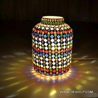 Multi Mosaic Glass Table Lamp