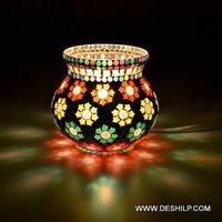 Decorated Glass Floor Lamp