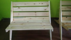2 Seater Wood Foldable Chair