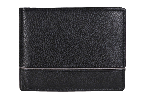 Black Men's Leather Grey Striped Wallet