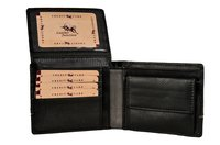 Black Men's Leather Grey Striped Wallet