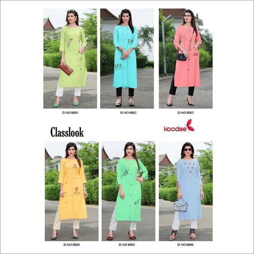Ladies straight rayon Kurtis