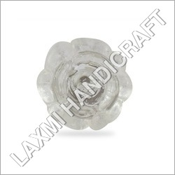 Flower Glass Silver Cabinet Knob