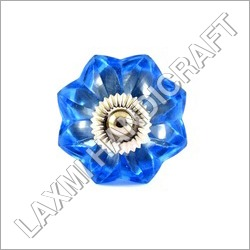 Flower Blue Glass Cabinet Knob