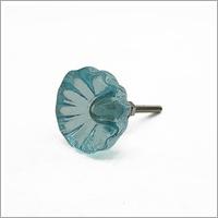 Blue Glass Flower Door Knob