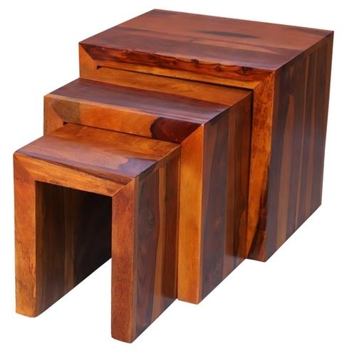 Solid Wood Set of 3 Rectangular Nesting Table