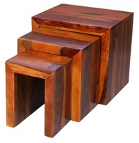 Solid Wood Set of 3 Rectangular Nesting Table