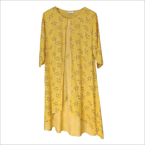 Ladies Printed Rayon Over Coat Kurti