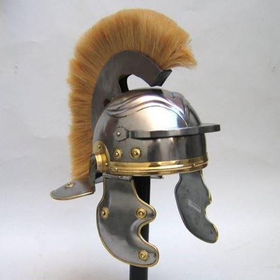 Armor Helmet Roman With White Plume
