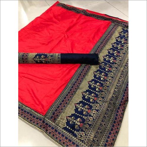 Pure Sana Silk Saree With Jacquard Pallu And Blouse