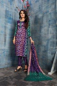 Fancy Bandhej Cotton Dress Material