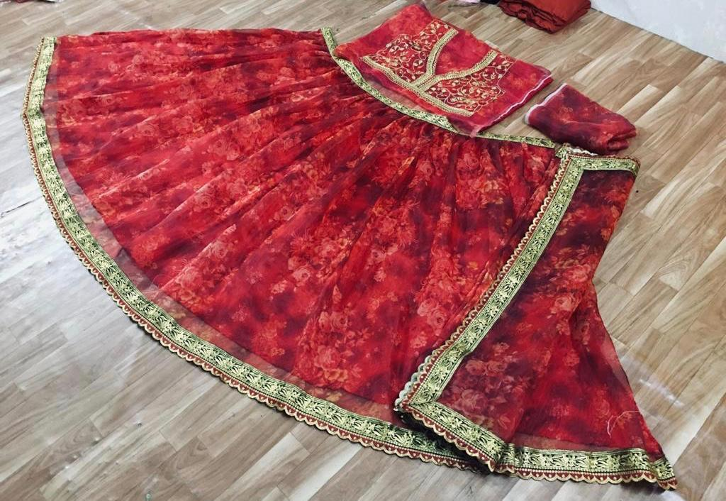 Orgenja Silk With Digital print With Embroidery lace Border, Traditional Wear