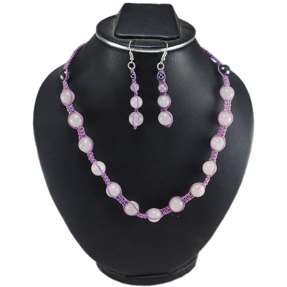 Handmade Jewelry Manufacturer 925 Sterling Silver Round Rose Quartz & Hematite Gemstone Necklace & Earring Set Jaipur Rajasthan India