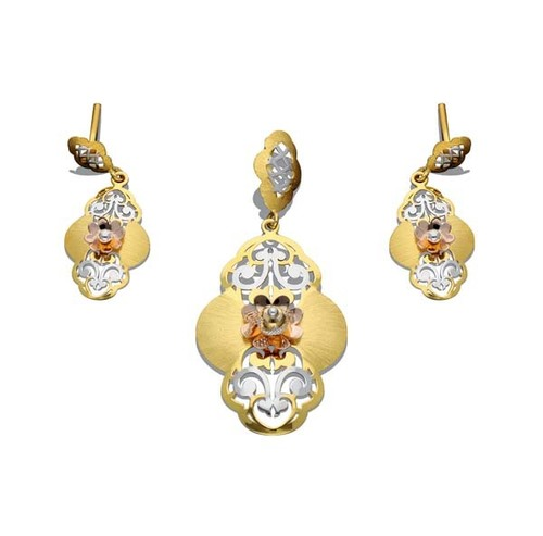 Pseudo Flower Shape Pendant Set