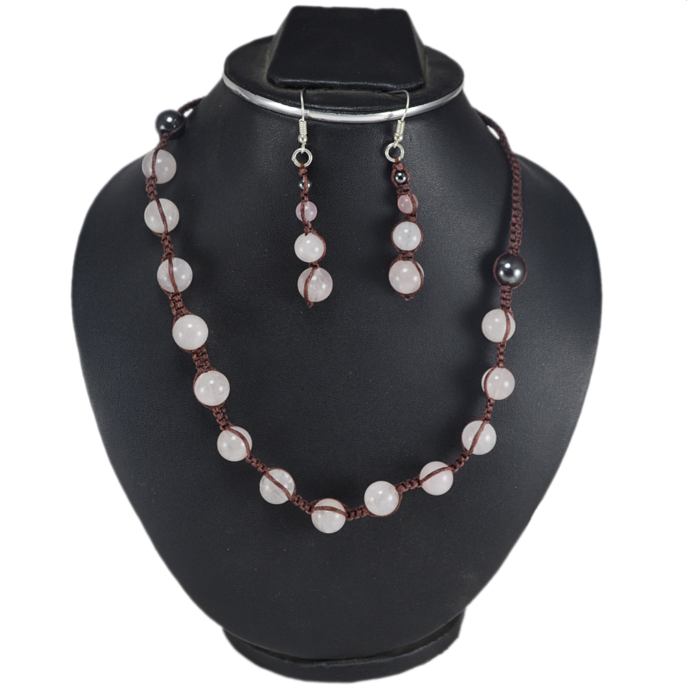 Jaipur Rajasthan India Rose Quartz & Hematite Gemstone Necklace & Earring Set 925 Sterling Silver Jewelry Handmade Jewelry Manufacturer