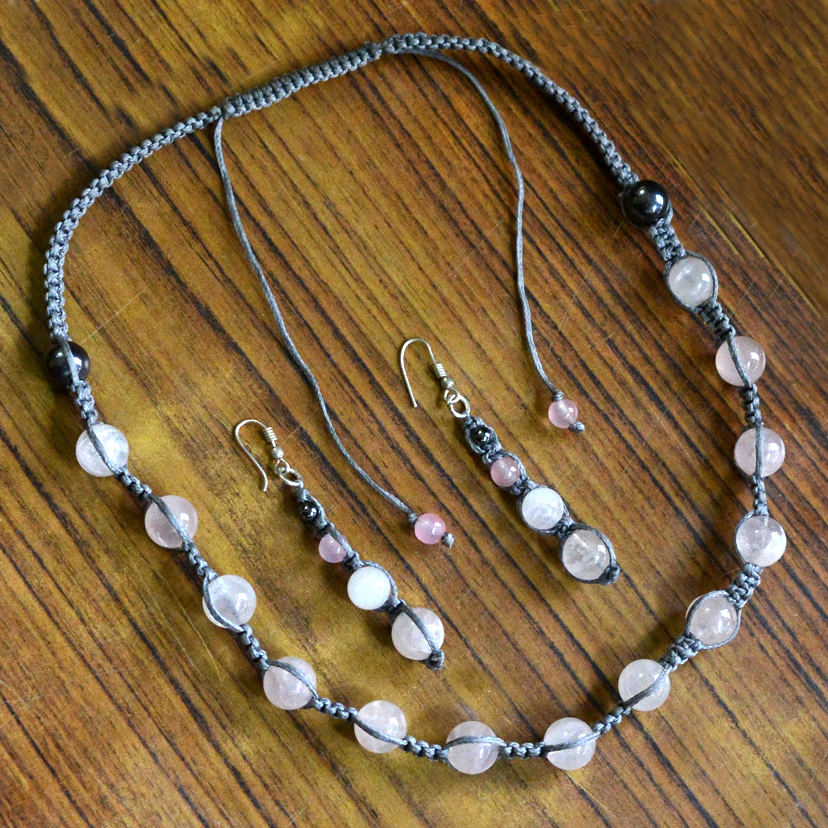 Jaipur Rajasthan India 925 Sterling Silver Rose Quartz & Hematite Gemstone Necklace & Dangle Earring Jewelry Set Handmade Jewelry Manufacturer