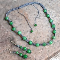 Jaipur Rajasthan India Round Green Jade Gemstone Necklace & 925 Sterling Silver Dangle Earring Jewelry Set Handmade Jewelry Manufacturer