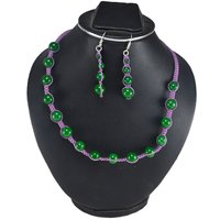 Handmade Jewelry Manufacturer Green Jade Gemstone Adjustable Necklace & Earring Set-925 Sterling Silver Jewelry Set Jaipur Rajasthan India