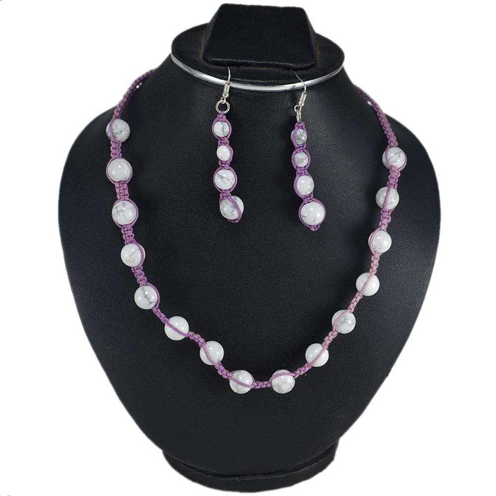 Purple Cord Adjustable Necklace Jaipur Rajasthan India Howlite Gemstone 925 Sterling Silver Fish Hook Earring Jewelry Set Handmade Jewelry Manufacturer