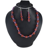 Jaipur Rajasthan India Round Carnelian Gemstone Purple Cord Necklace & Dangle Earring 925 Sterling Silver Jewelry Set Handmade Jewelry Manufacturer