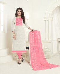 Cotton Jacquard Embroidered Dress Material With Mirror Work & Embroidered Dupatta