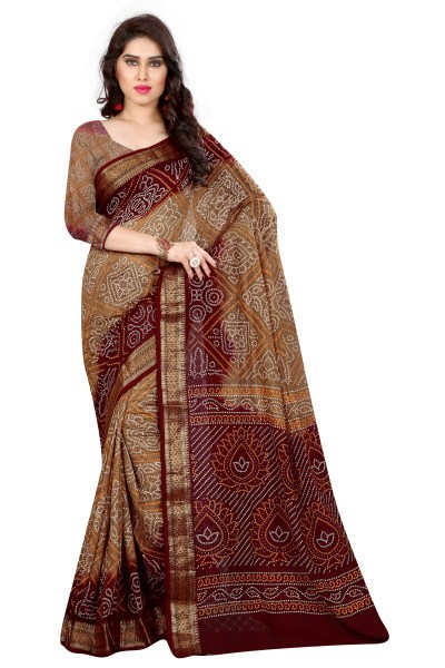 Pure Cotton Bandhej Saree With Zari Work