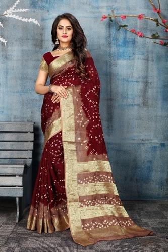 Navratri Special Pure Cotton Bandhani Saree With Zari Work