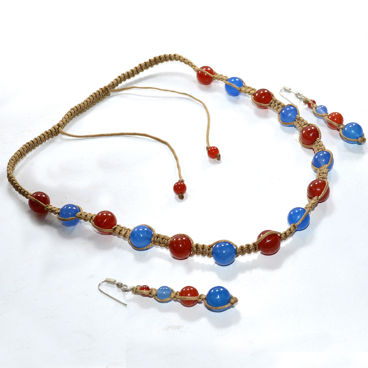 Jaipur Rajasthan India Bead Carnelian & Blue Chalcedony 925 Sterling Silver Necklace & Earring Set Handmade Jewelry Manufacturer